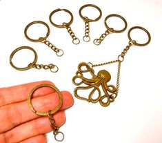 5 Brass key ring with chain 26mm Antiqued bronze DIY keyring