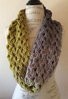 Free Knitting Pattern for Bulky Lace Cowl - This cowl from NobleKnits is knit in a super bulky ombre yarn that works up in just a few hours. The easy 4 row lace repeat is a perfect first lace project.