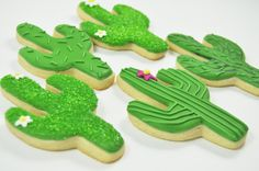 Cactus Sugar Cookies - 1 Dozen - Desert - Arizona - Wild West Cute decorated Iced sugar Cookies