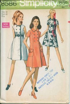 1969 Simplicity Retro Mod Mini Dress Sewing Pattern Vintage 8586 Size 18 Faux Double Breasted. $5.00, via Etsy.