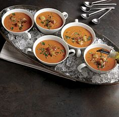 Best served icy cold, gazpacho needs to be chilled for at least an hour. Here it's garnished with croutons for crunch and cilantro for a burst of bright flavor, but chopped cucumbers and onions are another traditional garnish. Chowder Recipes, Soup Recipes, Cooking Recipes, Great Recipes, Favorite Recipes, Healthy Recipes, Unique Recipes, Summer Recipes, Easy Recipes