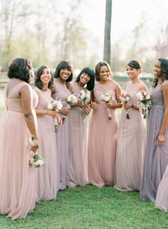 bridesmaids wearing mismatched bridesmaid dresses in a combination of light purple and mauve and blus wearing mismatched bridesmaid dresses in a combination of light purple and mauve and blush Bridesmaid Dresses Floral Print, Mismatched Bridesmaid Dresses, Blush Bridesmaid Dresses, Wedding Bridesmaids, Plum Bridesmaid, Wedding Dresses, Bridesmaid Outfit, Ford, Bridal Musings