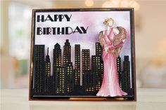 Beautifully decadent @tatteredlaceuk Art Deco Card Shapes and Corners Megabuy. Inspired by The Great Gatsby era. / 1920s / retro / card / card making / papercraft / pretty / vintage /stylish / Great Gatsby / craft / createandcraft / pink / dress / sky line / city