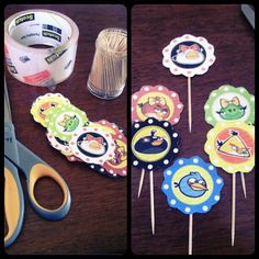 Angry birds party idea cupcake toppers