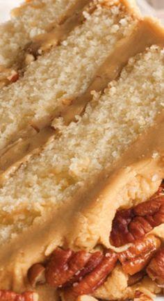 Buttered Pecan Caramel Cake Butter Pecan Cake, Pecan Praline Cake, Caramel Pecan Cake Recipe, Southern Pecan Pound Cake Recipe, Butter Pecan Cheesecake Recipe, Pecan Pies, Southern Caramel Cake, Pecan Waffle Recipe, Apple Pies