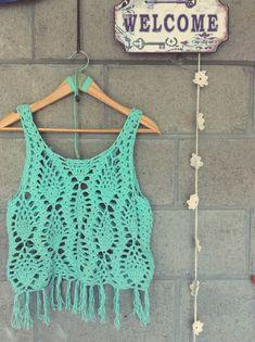 @mariadelapazd #tejidos #summercrochet #bohostyle #bohemianbeach #handmade #lovely  MUSCULOSA FLECOS CROCHET
