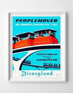 Vintage Disneyland Poster Print Peoplemover Disney by InkistPrints