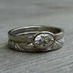 Moissanite Palladium Wedding Ring Set  Forever by McFarlandDesigns