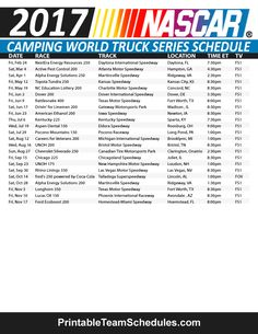 2017 Nascar Camping World Truck Schedule