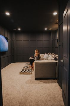 Our Dark Gray Home Theater Room with Wall Paneling Home Theater Room Design, Movie Theater Rooms, Home Cinema Room, Movie Rooms, Cinema Room Small, Home Theater Wiring, Theater Room Decor, Tv Rooms, Game Rooms
