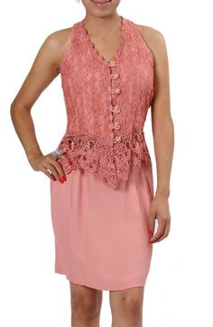 Dusty Pink Rose 2pc Suit Set Lace Top Sexy Back with Skirt size Medium $24.40