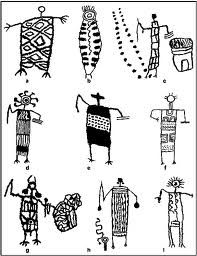 Figures 6, 7, and 8.  Sketches of characteristic and representative examples of Coso Range Patterned Body Anthropomorph petroglyphs.  Images come from elements located within the rock art galleries in Little Petroglyph, Big Petroglyph, and Sheep Canyons.  Images range in size from the largest at three to four feet in length and the smallest being just under a foot.
