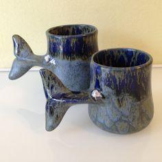 Pair of Vintage Doug Wylie Whale Tail Ceramic by JigsandLarry