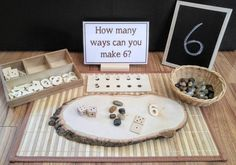 This loose parts number exploration activity is fantastic for a classroom setting, a daycare or home school environment, or as an extension to your educational learning home. Children can explore how to build numbers with a variety of materials. Great for a Montessori or Reggio Emilia inspired environment. Materials Included: - Wooden Tree Slice (size & shape may vary slightly) - Sectional organizing tray - Wicker basket - Wooden card stand - 10 laminated cards - handmade wooden dice…