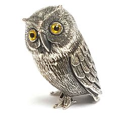 COLLECTABLE QUALITY VICTORIAN STYLE OWL FIGURINE GLASS EYES 925 STERLING SILVER
