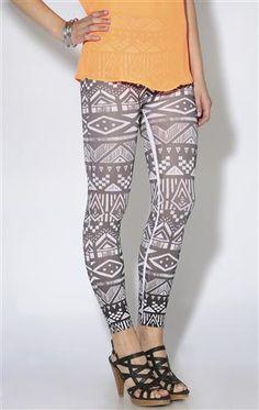 black and white tribal print legging
