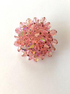 Vintage Pink Crystal Brooch by MtLaurelTreasures on Etsy, $10.50
