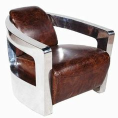 Vintage Art Deco leather armchair Brown Leather / Silver  £1,599.90 http://amzn.to/1hTs1Ae