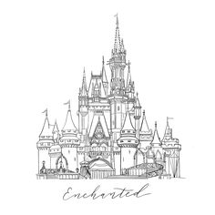 Disney Castle Drawing, Disney Castle Tattoo, Disney Drawings, Enchanted Castle, Disney Enchanted, Castle Illustration, Digital Illustration, Castle Coloring Page, Panda Craft