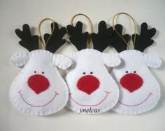 Christmas Felt Ornaments - Felt Christmas Rudolph the Red Nosed Reindeer - White Reindeers - ONE Ornament