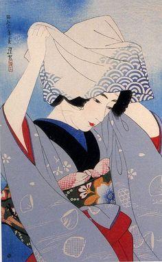 Geisha Digging Seashells Artist: Ito Shinsui Published by Watanabe Shozaburo, Japanese Drawing, Japanese Painting, Chinese Painting, Japan Illustration, Botanical Illustration, Art Chinois, Art Asiatique, Art Japonais, Japanese Prints