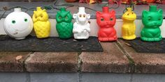 Vintage 7 Owl Lanterns FROG MONKEY CAT Blow Molds  | eBay