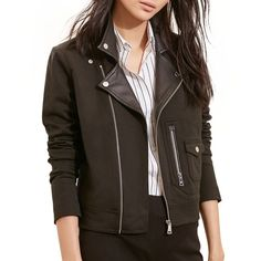 Lauren Ralph Lauren Faux Leather Lapel Moto Jacket ($225) ❤ liked on Polyvore featuring outerwear, jackets, black, rider jacket, synthetic leather jacket, vegan jacket, lapel jacket and faux leather biker jacket