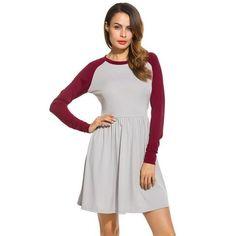 Women A-line Raglan Sleeve Dress