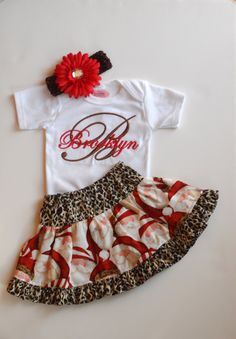 Personalized Baby Girl Christmas Outfit Baby Girl by LilMamas, $45.00