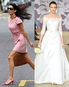 Amal Alamuddin from Celeb Wedding Dress Predictions  We think George Clooney's ladylove would look breathtaking in this Carolina Herrera gown. It encapsulates Amal's style: It's sophisticated, elegant, classic—but with a modern twist.