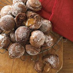 Caramel-Filled Chocolate Ebelskivers [These sugar-dusted chocolate pancakes are filled with a sweet surprise—a melted caramel center. Take care when flipping the pancakes over; the centers will still be very soft because of the melting caramel. Danish Pancakes, Pancakes And Waffles, Chocolate Pancakes, Aebleskiver Recipe, Baking Recipes, Dessert Recipes, Pancake Recipes, Breakfast Recipes, Delicious Desserts