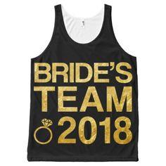 Bride's team 2018 All-Over-Print tank top - gold glitter style stylish unique