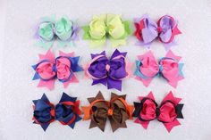 """Instock 9pcs 5""""Baby Girl InFant two tone mixed  Ribbon Hair Bows Clip 2236-2244 #MyOwnUniqueDesign"""