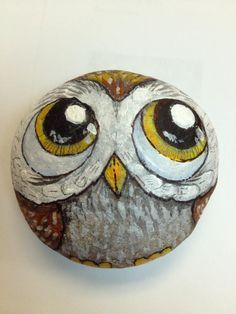 Painted rock, painted stone, stone painting, rock painting. Rock art, Stone art. Owl