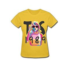 Women's Taylor Swift 1989 T-shirt ❤ liked on Polyvore featuring tops, t-shirts, henley tops, henley tee, yellow top, yellow tee and henley t shirt