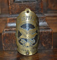 Antique French Bicycle Headbadge Brass Enamel by VintageFleaFinds