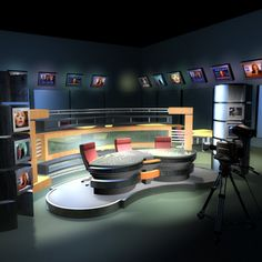 3Ds Tv News Studio Cameras - 3D Model