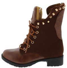 DEJATU BROWN STUD AND SKULL LACE UP BOOT ONLY $16.88