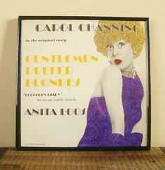 Vintage Carol Channing Gentleman Prefer Blondes Album enhanced with meticulously applied extra fine glitter! Her dress sparkles in Royal Purple, her