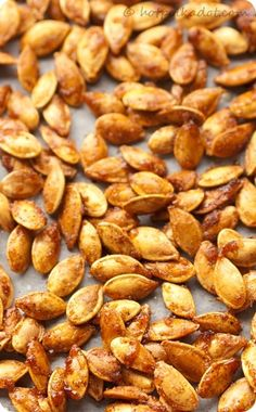 Sugar And Spice Toasted Pumpkin Seeds-great snack for a fall party or Halloween by cathryn