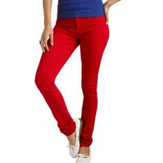 LEI Red Skinnys Excellent condition.  Bright red jeans made with a stretchy material.  Size 17. LEI Pants