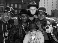 Run DMC and The Beastie Boys on a rooftop in Hell's Kitchen, NYC announcing a co-headlining tour. [1985] (Photo by Vinnie Zuffante/Getty Images) : OldSchoolCoolMusic