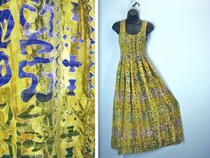 1980s Maxi Dress / 80s Smocked Gold Abstract Ankle by SnapVintage, $32.00
