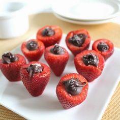 Salted Chocolate Stuffed Strawberries. What's better than strawberries dipped in chocolate? Strawberries stuffed with chocolate & sea salt!