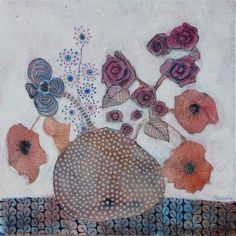 Poppies and Roses, mixed media on canvas
