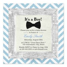 Blue Chevron Stripes Bow Tie Boy Baby Shower Personalized Announcement Card