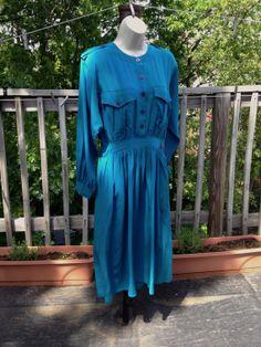 Vintage 80s Jack Mulqueen Blue Silk Dress