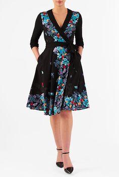 I <3 this Floral print paneled crepe wrap dress from eShakti