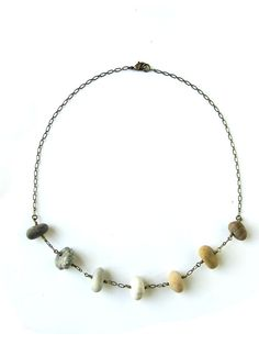 "Natural Stone Jewelry - Beach stone necklace handmade from natural Wisconsin rocks. ""Stone Bead Ombre Necklace"" 1236"