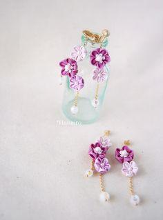 Jewelry Crafts, Handmade Jewelry, Fabric Origami, Japanese Flowers, Kanzashi Flowers, Craft Accessories, Ribbon Work, Fabric Jewelry, Bead Earrings